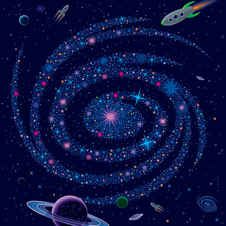 saturn: Vector illustration with large galaxy, spaceships and various cosmic elements