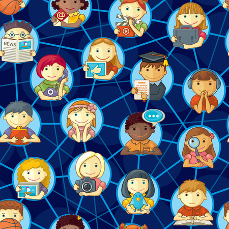 seamless pattern of various cartoon characters connected through social network  Vector