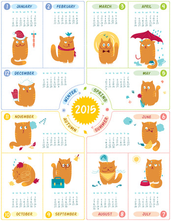 Vector calendar 2015 with cute personages on white background  Vector