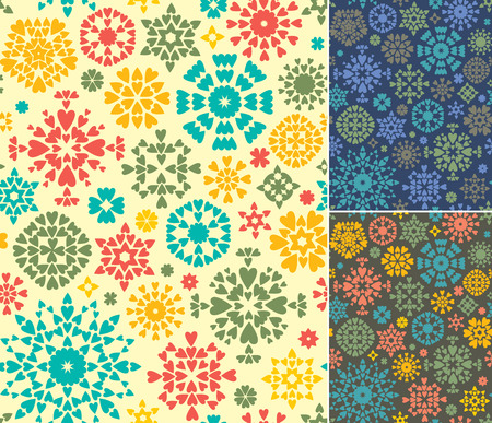 Set of 3 endless textures for wallpapers, background, pattern fills  3 abstract geometric backgrounds  Illustration