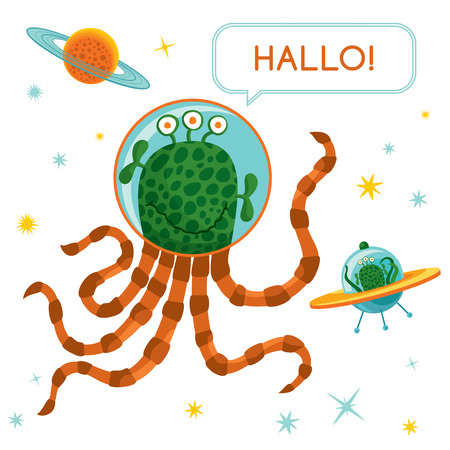 Vector concept illustration  Cute happy alien  Text  Hallo