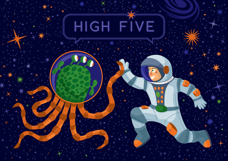 Vector concept illustration  Man contacting with alien  Text  high five