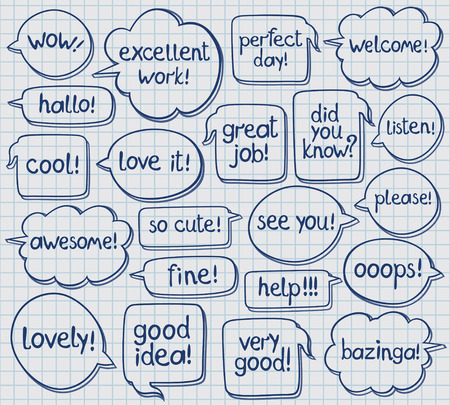 Vector set of hand drawn speech bubbles with handwritten texts  Checked notebook sheet on background