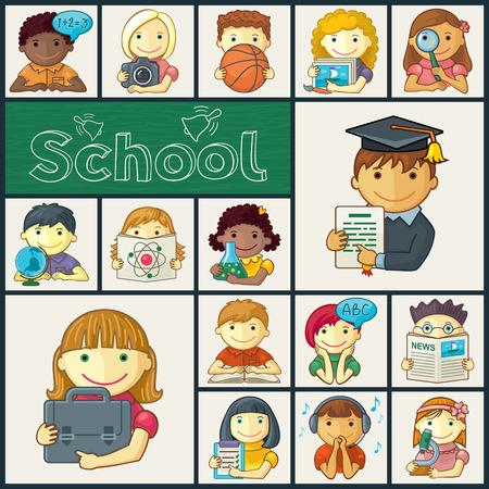 Niños de escuela lindos - vector conjunto. Manuscrito School texto vectorizado Vectores
