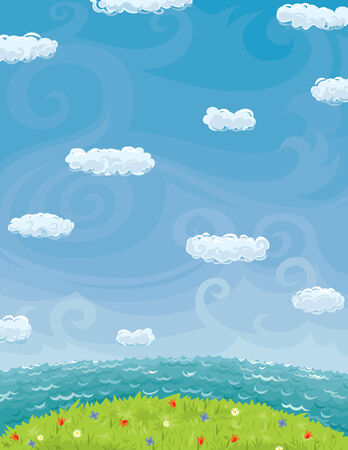Vector background with summer landscape. Blue sky with clouds, sea, green grass and flowers  Illustration