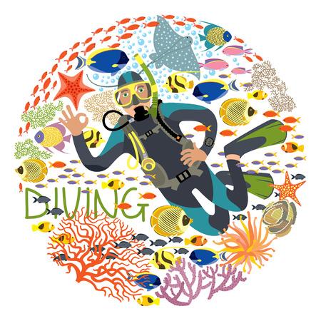 ベクトル イラスト様々 な水中植物および魚によって囲まれていますダイバー文字