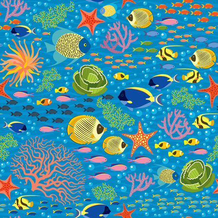 Vector Seanless Pattern With underwater plants and fishes