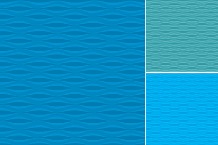 Set of three blue patterns with waves