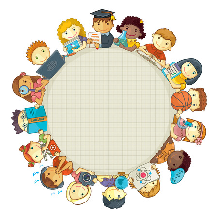 Vector circle frame  Group of smiling school children  Various school subjects  Space for your text   Ilustração