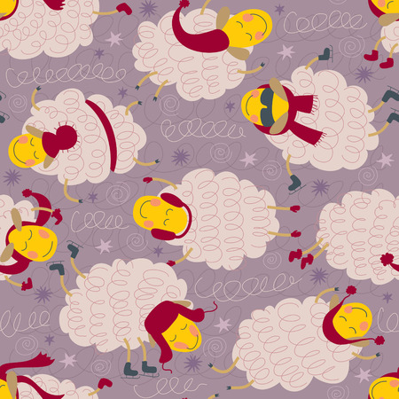 seamless pattern Sleepy and happy sheeps in winter clothes.  Illustration