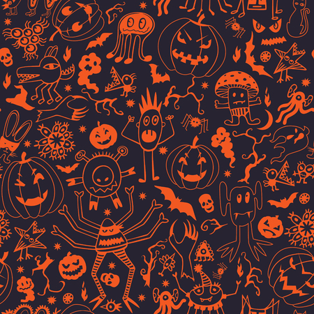 seamless background on Halloween theme with cute characters. Contrast colors.