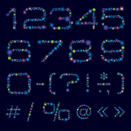 numbers and symbols made of bright coloured stars.