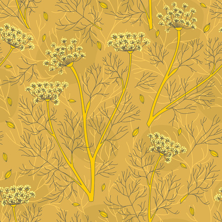 dill seed: seamless pattern with fennel plants and seeds in warm colors. Illustration