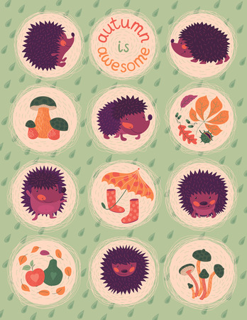 wellingtons: Vector illustration with cute hedgehogs, autumn leaves and mushrooms. Text: autumn is awesome.