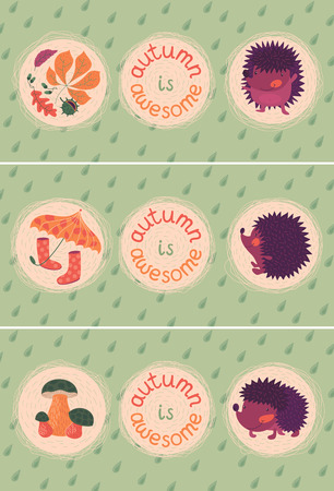 Vector set of cards with cute hedgehogs, autumn leaves and mushrooms. Text: autumn is awesome.