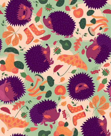 Vector seamless pattern with cute hedgehogs, autumn leaves and mushrooms.