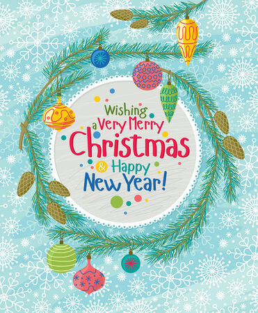 Vector illustration of Christmas decorative garland with greeting text.