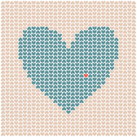 Vector illustration of textured heart. Texture with little hearts. Illustration