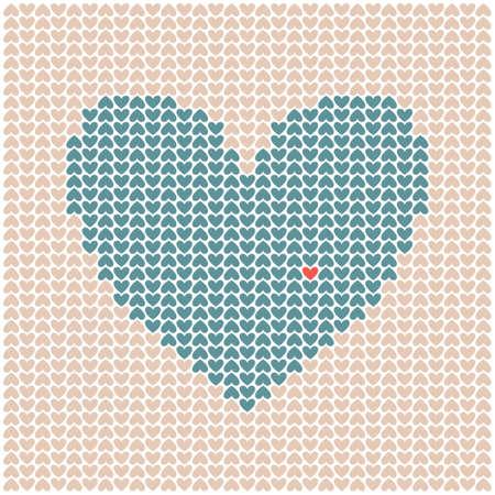 Vector illustration of textured heart. Texture with little hearts. Illustration