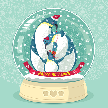 Vector illustration with cute penguins inside snowing globe. With text: Happy Holidays. Illustration