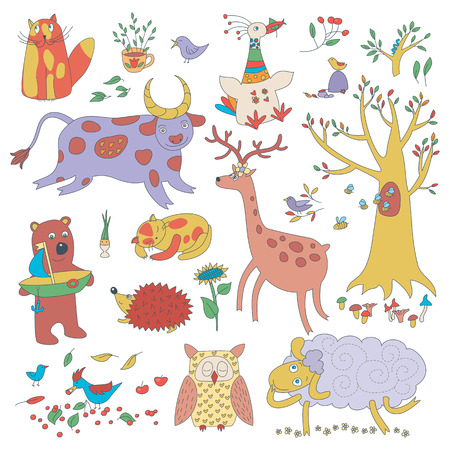 Vector animals and plants. Illustaration for children. Illustration