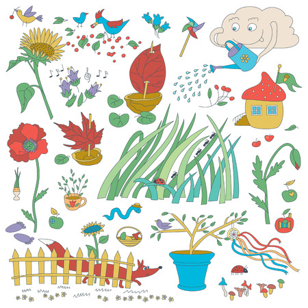 Vector set with garden plants, flowers, decor elements, birds, insects and fox. Illustration