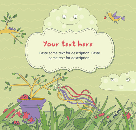 Vector illustration with floral elements, insects, bird and   smiling clouds. Frame for text. Illustration