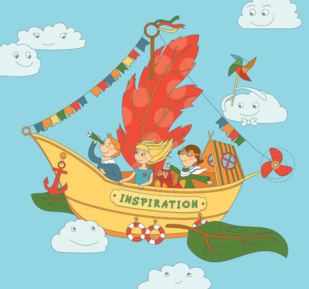 pilot: Vector illustration with group of children playing on unusial self-invented flying ship. Sky and smiling clouds on background. Illustration
