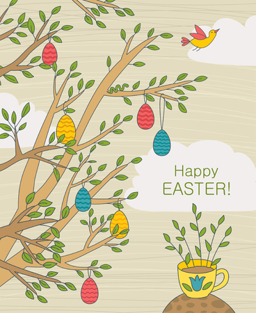 illustration on Easter theme with colorful eggs on tree and text: Happy Easter!