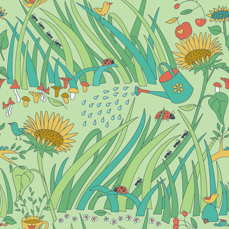 Vector seamless pattern with garden plants flowers insects and birsds.