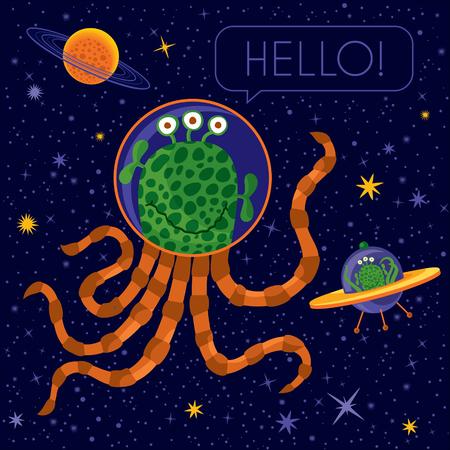 Vector concept illustration. Cute happy alien. Text: Hello