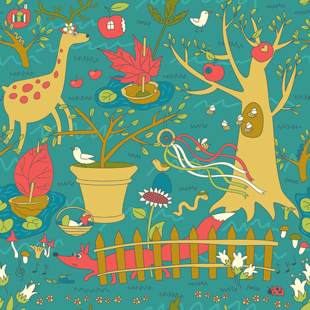 Vector Seamless Pattern. Garden with plant and animals.