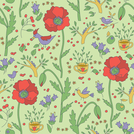 Vector seamless pattern with garden flowers and birds. Bright colors. Illustration