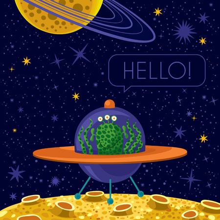 Vector illustration. Cute happy alien in spaceship. Text: Hallo! Illustration
