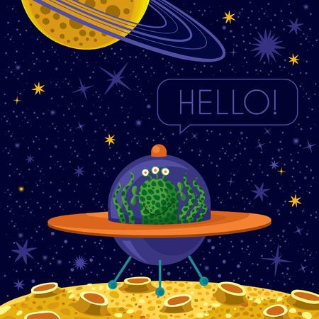 Vector illustration. Cute happy alien in spaceship. Text: Hallo! Illustration