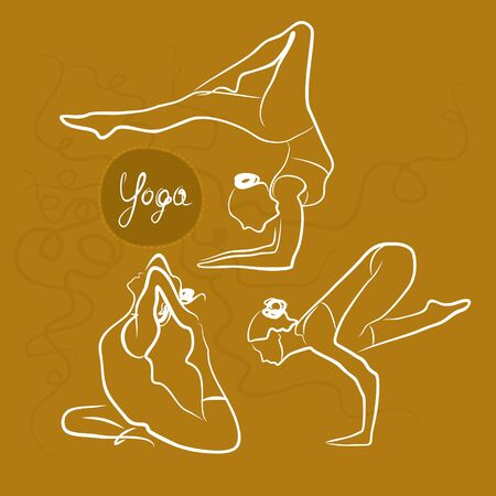 Set of women in different popular yoga poses. Sketchy   style. Bright background. Handwritten text: Yoga.