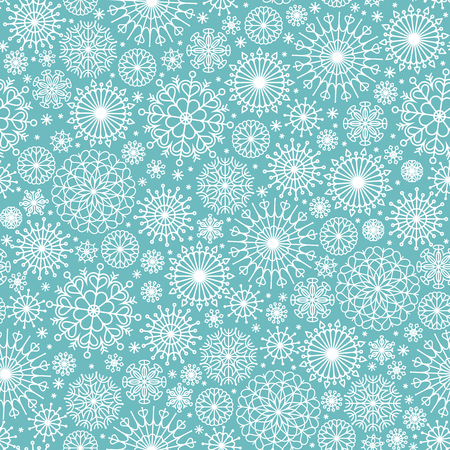 motton blue: Vector seamless Christmas background with white snowflakes.
