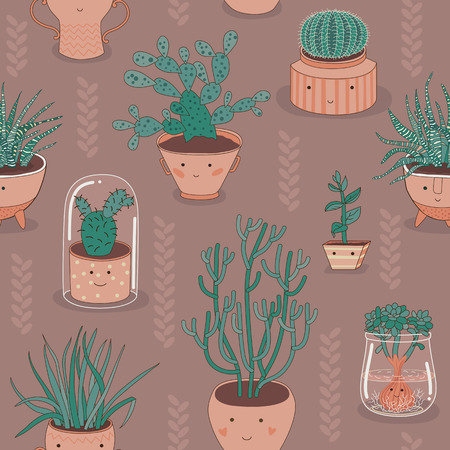 Vector seamless background of various home plants in cute   looking pots.