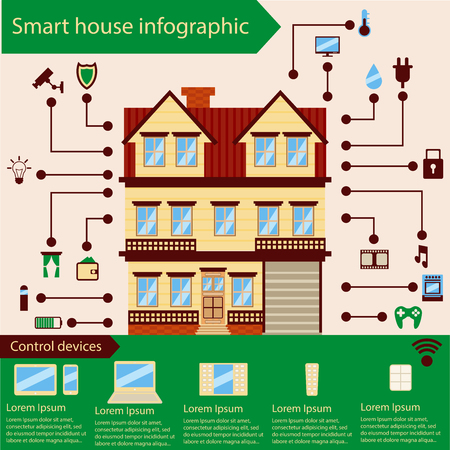Smart house infographics Vectores