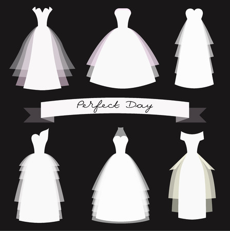 Robe de mariée set Vecteurs