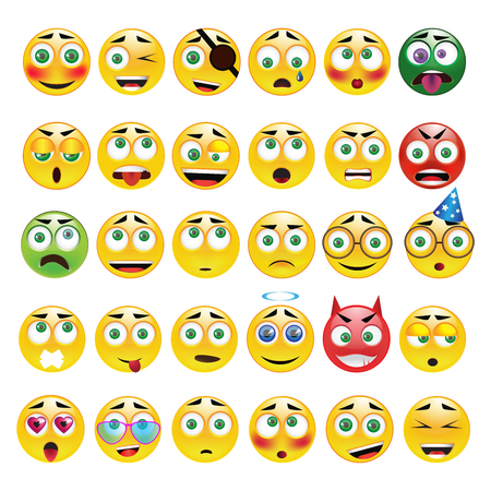 Yellow emoticon with different emotions,