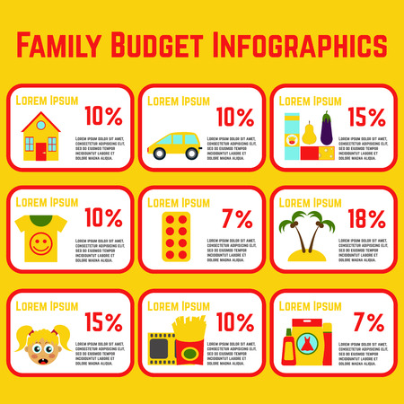 expenses: Family Budget Info Graphics. All expenses included