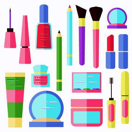 lip gloss: Cosmetic set. Cream, powder, lip gloss, lipstick, pencil, eyeshadow and other.