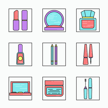 lineart: Lineart cosmetics vector icons set. Illustration