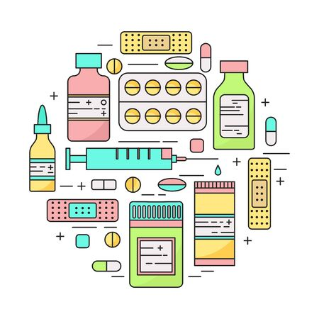 lineart: Lineart pharmacy products and pills circle