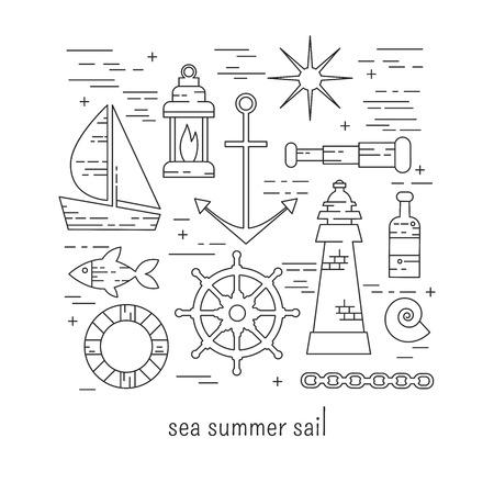 lineart: Sea sail lineart vector set Illustration
