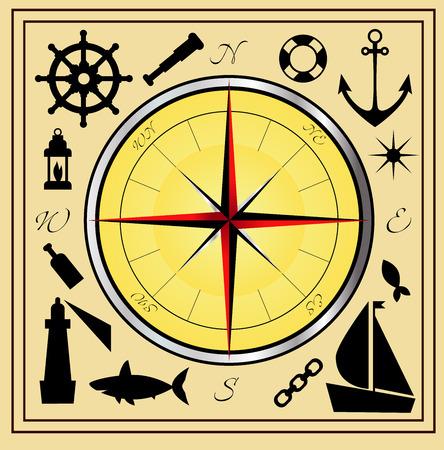 east river: Sea symbols vector set