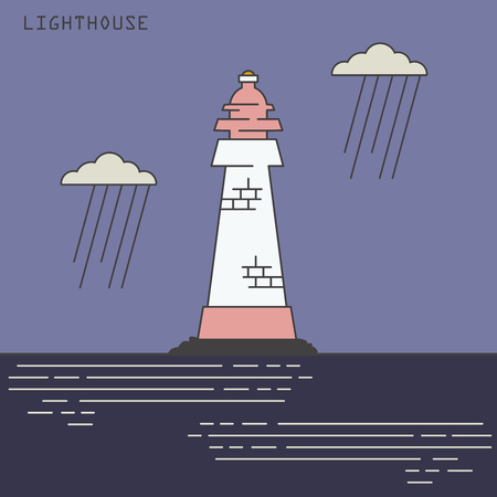lineart: Lineart lighthouse colored vector illustration