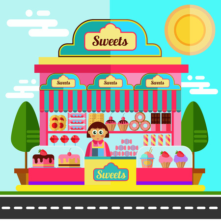 sweet foods: Sweet shop. Street view.