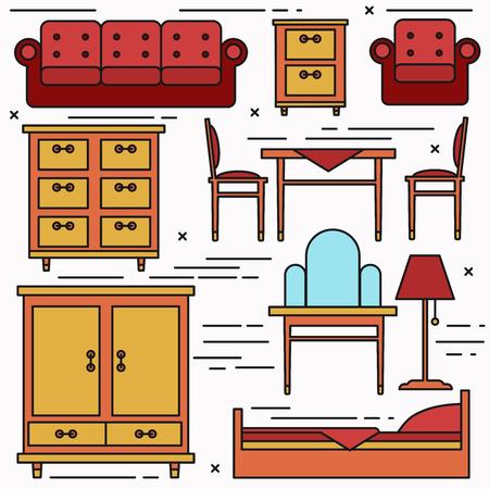 lineart: Lineart furniture vector set